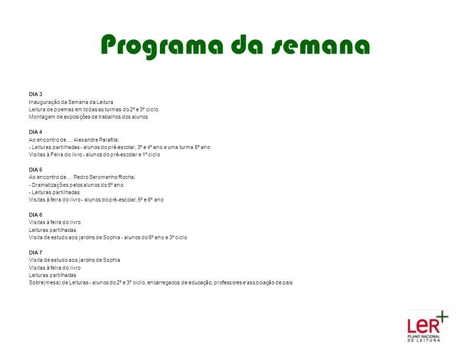 Programa da semana 2 DIA 3 Inauguração da Semana da Leitura
