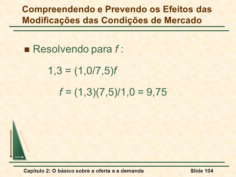 Resolvendo para f : 1,3 = (1,0/7,5)f f = (1,3)(7,5)/1,0 = 9,75
