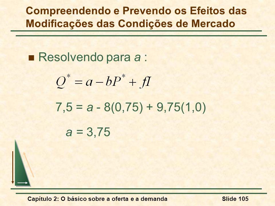 Resolvendo para a : 7,5 = a - 8(0,75) + 9,75(1,0) a = 3,75