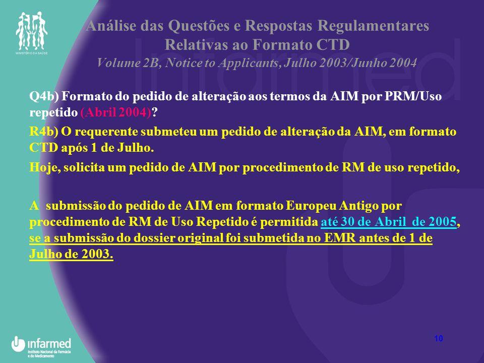 Análise das Questões e Respostas Regulamentares Relativas ao Formato CTD Volume 2B, Notice to Applicants, Julho 2003/Junho 2004