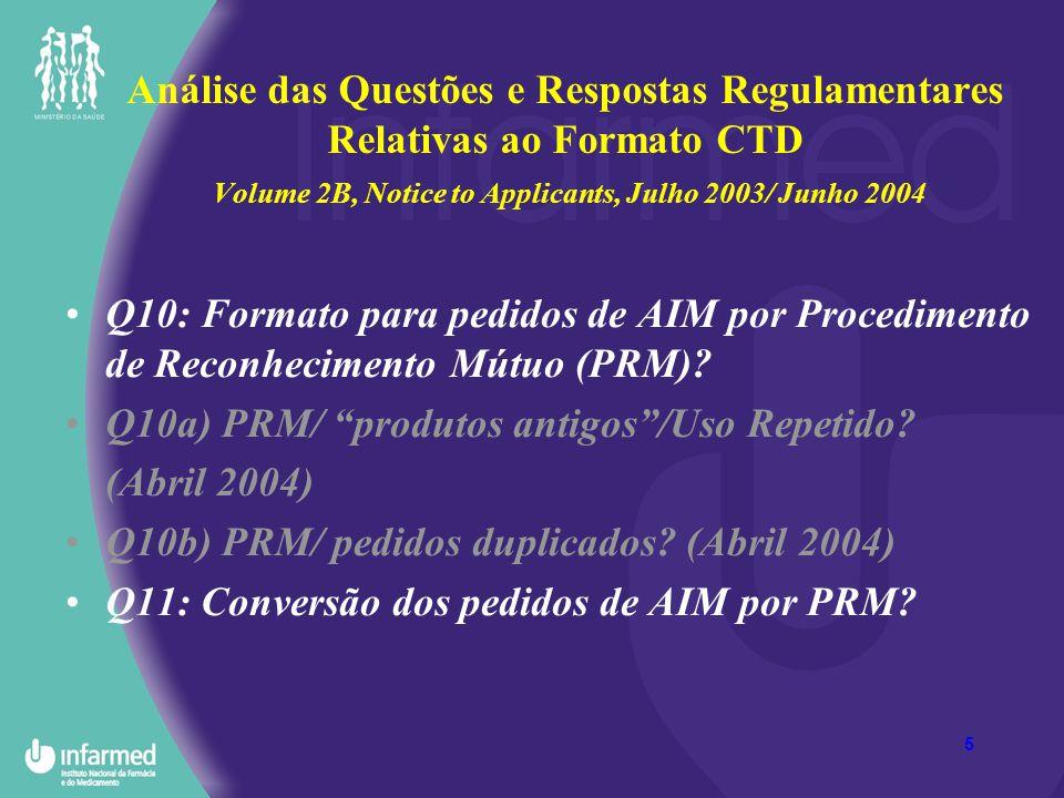 Análise das Questões e Respostas Regulamentares Relativas ao Formato CTD Volume 2B, Notice to Applicants, Julho 2003/ Junho 2004