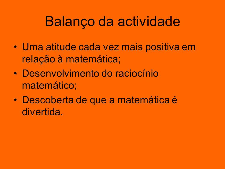Balanço da actividade Uma atitude cada vez mais positiva em relação à matemática; Desenvolvimento do raciocínio matemático;