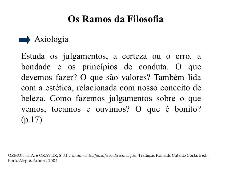 Os Ramos da Filosofia Axiologia