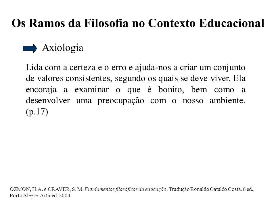 Os Ramos da Filosofia no Contexto Educacional