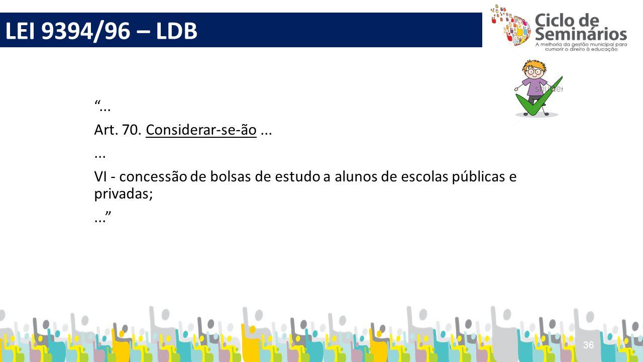 LEI 9394/96 – LDB ... Art. 70. Considerar-se-ão ...
