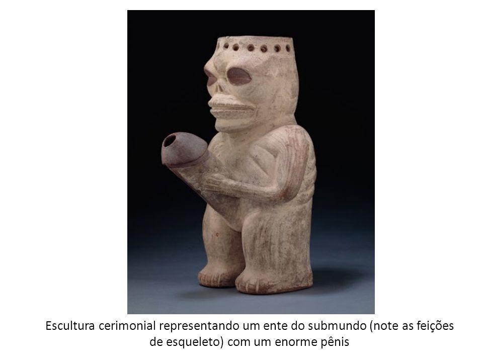 Escultura cerimonial representando um ente do submundo (note as feições de esqueleto) com um enorme pênis