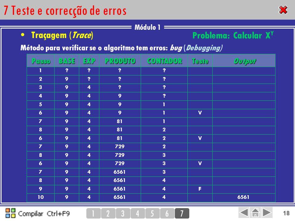 7 Teste e correcção de erros