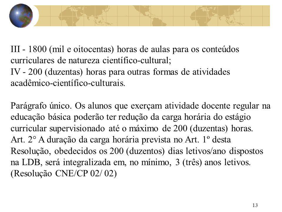 III - 1800 (mil e oitocentas) horas de aulas para os conteúdos curriculares de natureza científico-cultural;
