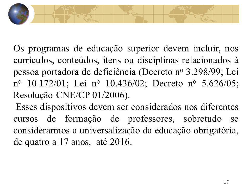 Os programas de educação superior devem incluir, nos currículos, conteúdos, itens ou disciplinas relacionados à pessoa portadora de deficiência (Decreto no 3.298/99; Lei no 10.172/01; Lei no 10.436/02; Decreto no 5.626/05; Resolução CNE/CP 01/2006).