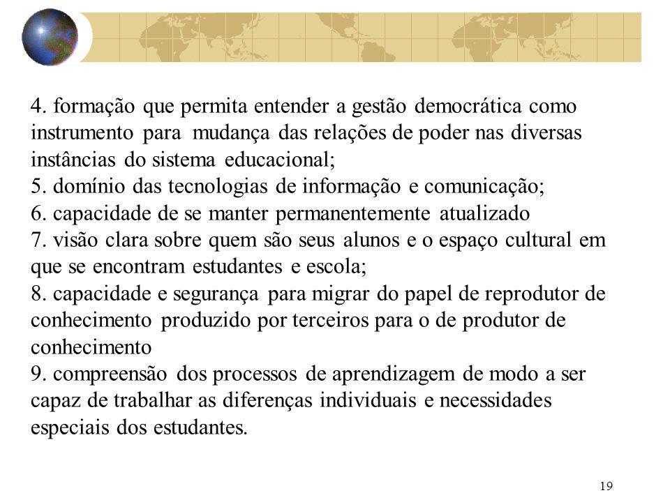 4. formação que permita entender a gestão democrática como instrumento para mudança das relações de poder nas diversas instâncias do sistema educacional;