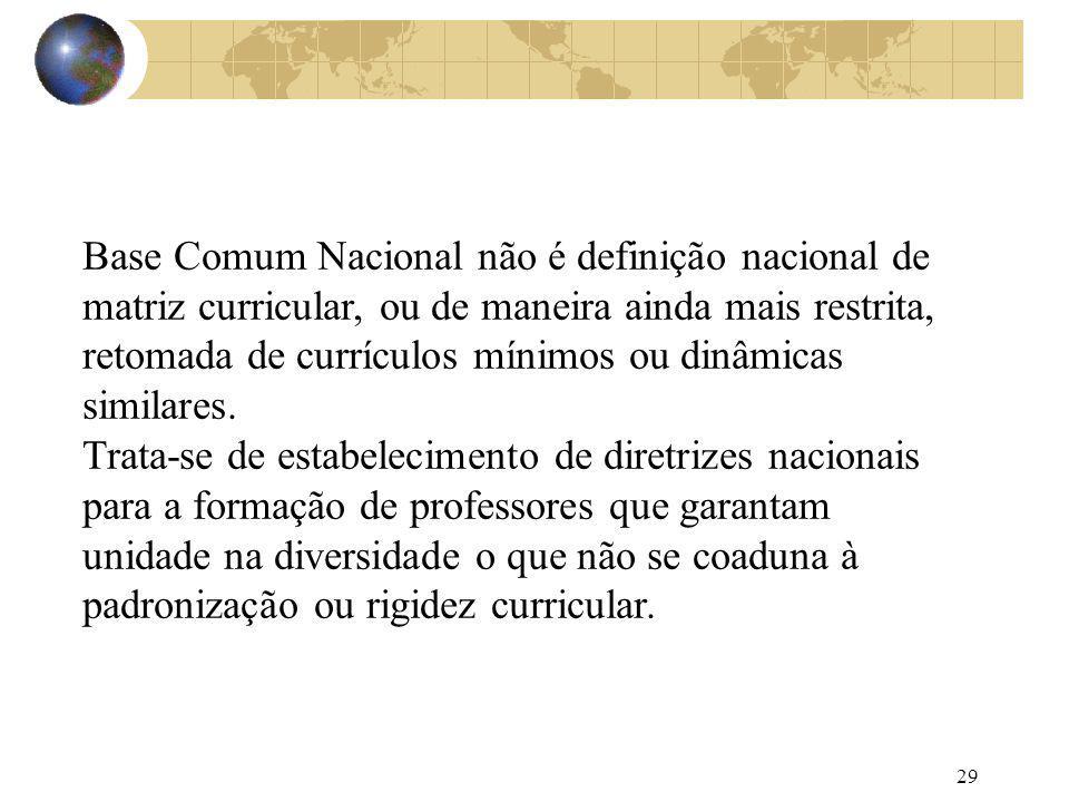 Base Comum Nacional não é definição nacional de matriz curricular, ou de maneira ainda mais restrita, retomada de currículos mínimos ou dinâmicas similares.