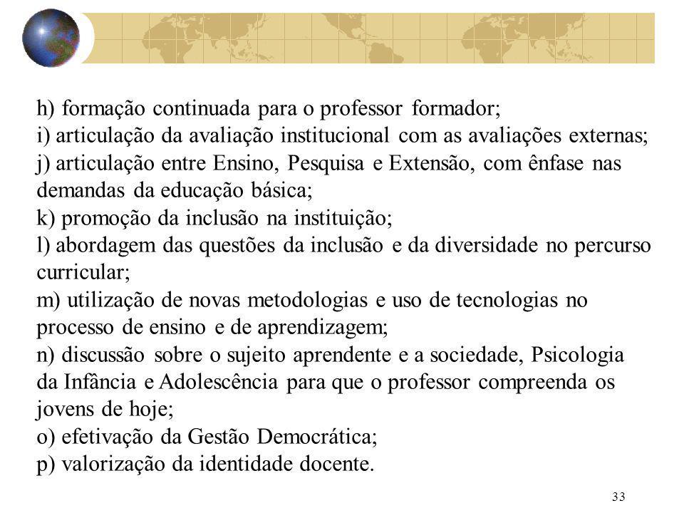 h) formação continuada para o professor formador;