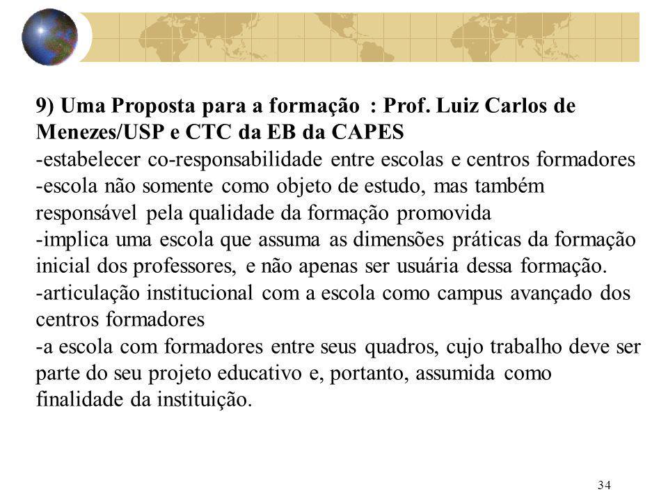 9) Uma Proposta para a formação : Prof