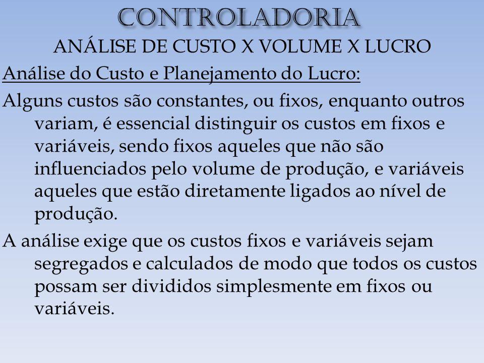 ANÁLISE DE CUSTO X VOLUME X LUCRO