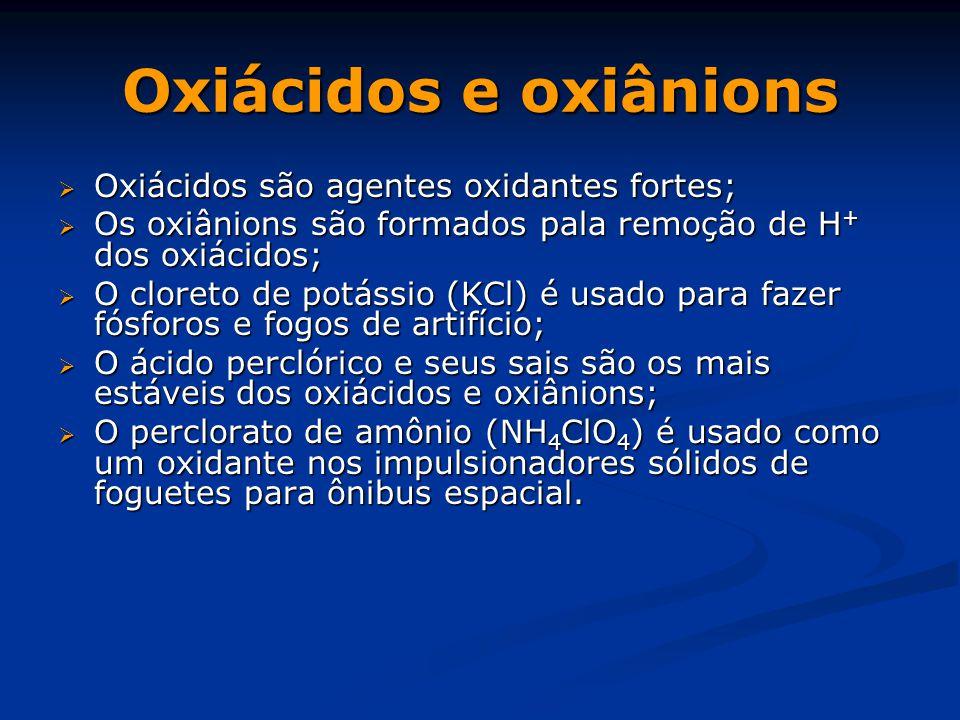 Oxiácidos e oxiânions Oxiácidos são agentes oxidantes fortes;