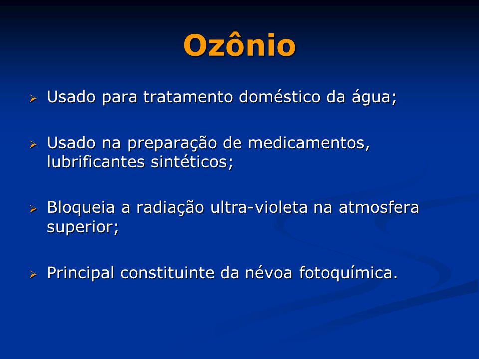 Ozônio Usado para tratamento doméstico da água;