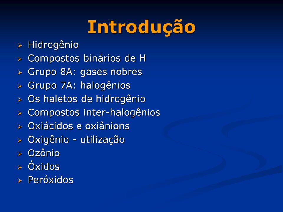 Introdução Hidrogênio Compostos binários de H Grupo 8A: gases nobres