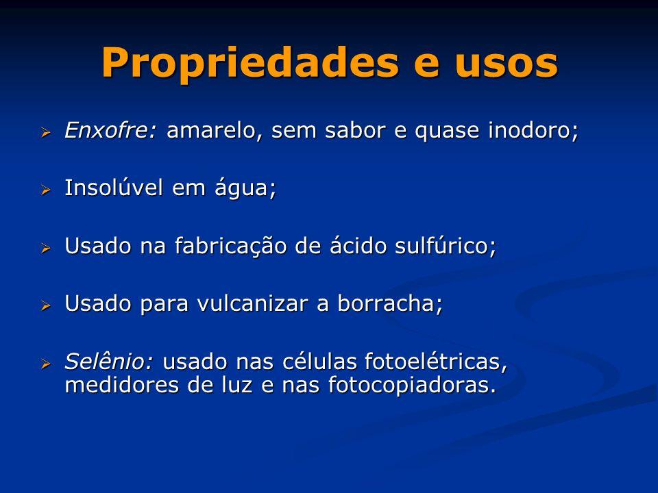 Propriedades e usos Enxofre: amarelo, sem sabor e quase inodoro;