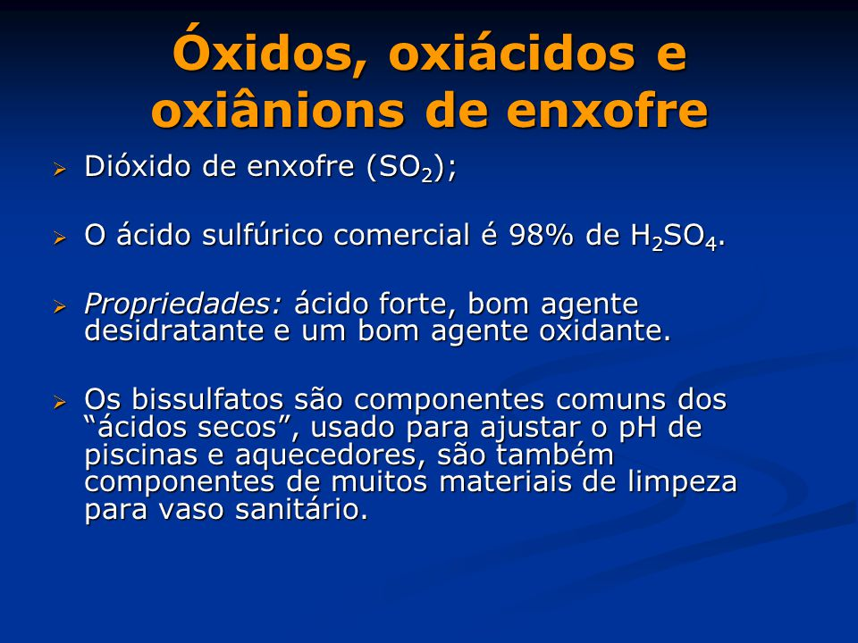 Óxidos, oxiácidos e oxiânions de enxofre