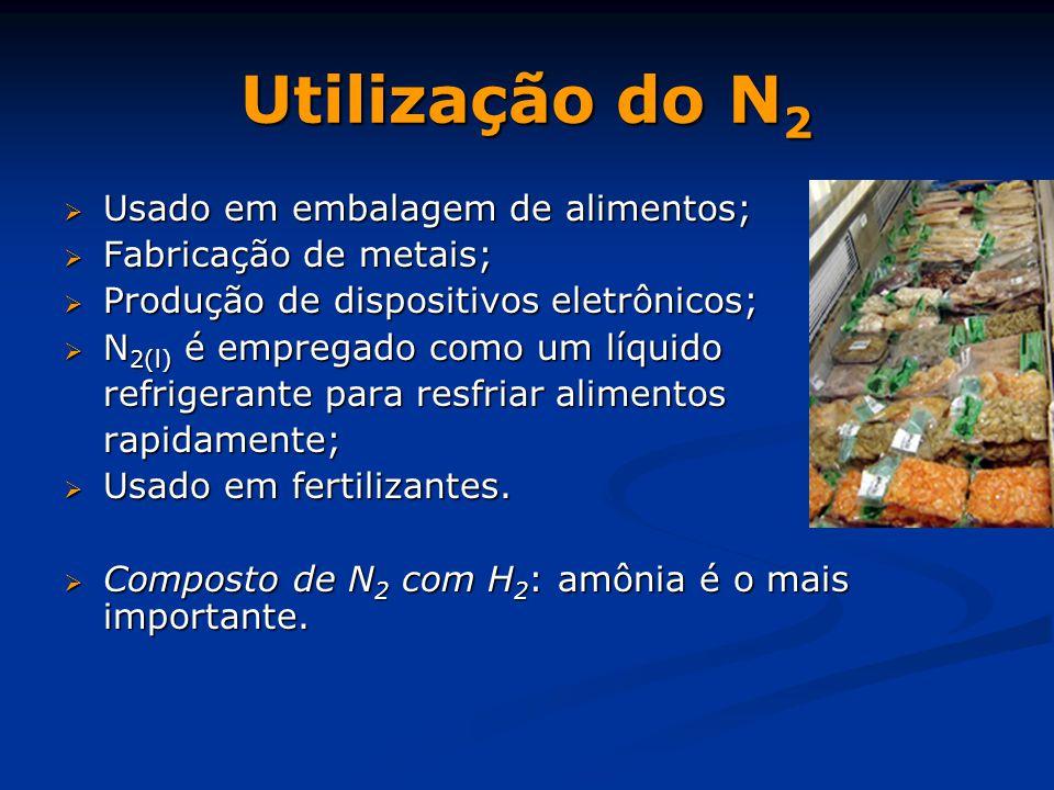 Utilização do N2 Usado em embalagem de alimentos;