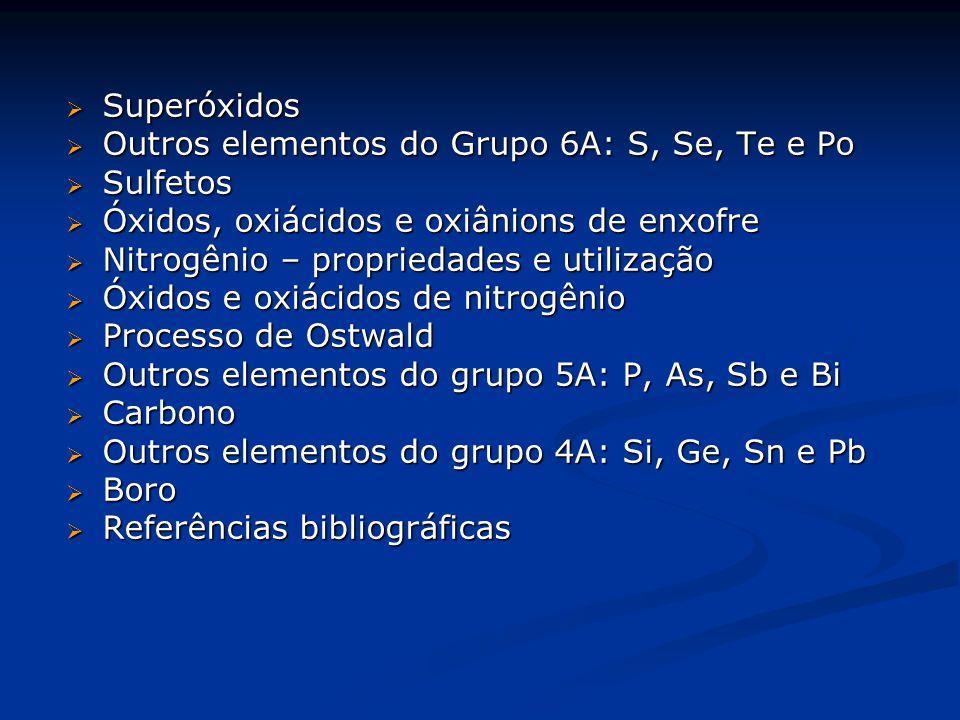 Superóxidos Outros elementos do Grupo 6A: S, Se, Te e Po. Sulfetos. Óxidos, oxiácidos e oxiânions de enxofre.