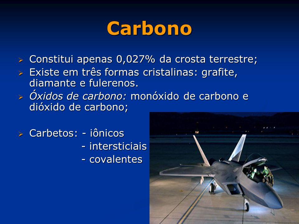 Carbono Constitui apenas 0,027% da crosta terrestre;