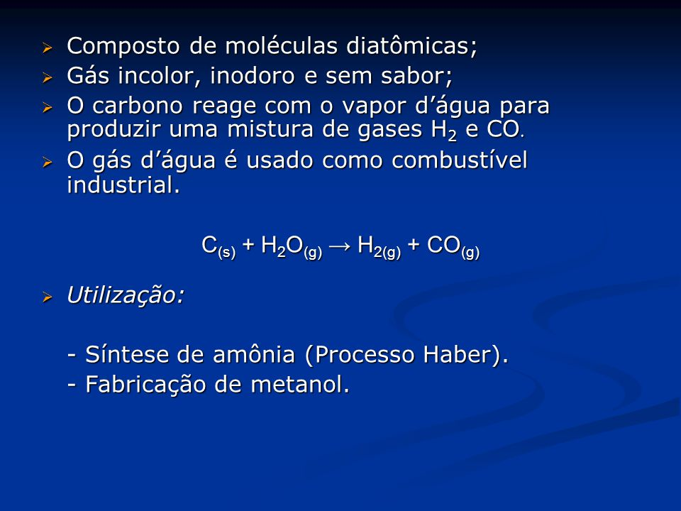 C(s) + H2O(g) → H2(g) + CO(g)