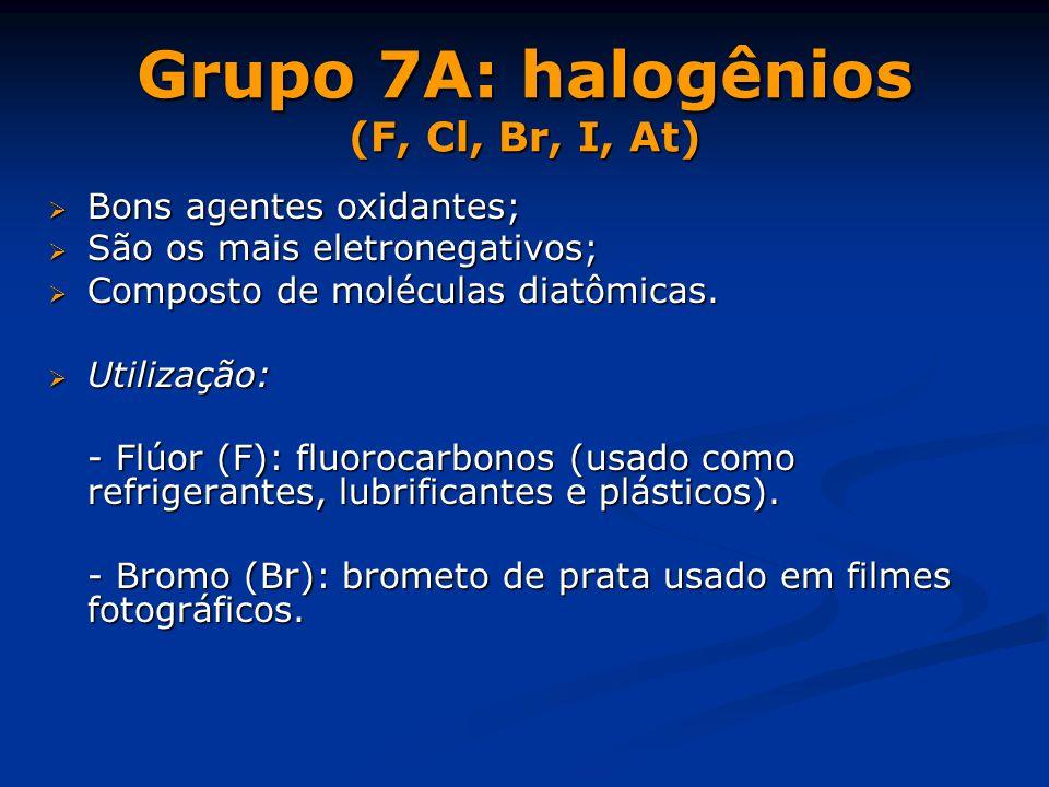 Grupo 7A: halogênios (F, Cl, Br, I, At)