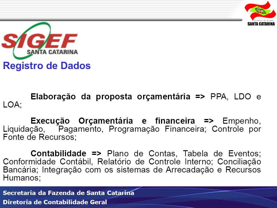 Registro de Dados Elaboração da proposta orçamentária => PPA, LDO e LOA;