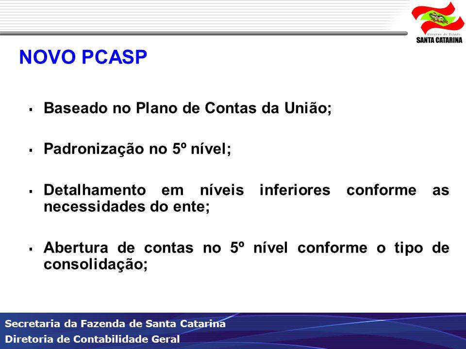 NOVO PCASP Baseado no Plano de Contas da União;