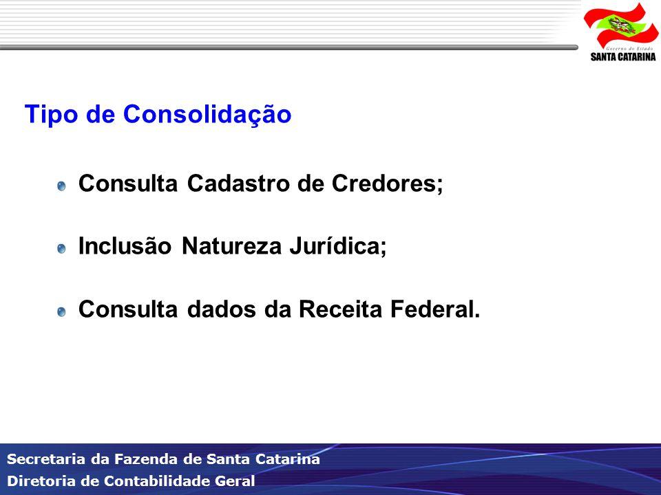 Tipo de Consolidação Consulta Cadastro de Credores;