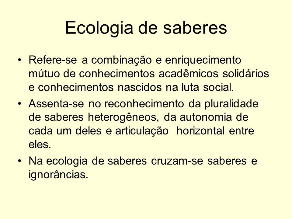 Ecologia de saberes Refere-se a combinação e enriquecimento mútuo de conhecimentos acadêmicos solidários e conhecimentos nascidos na luta social.