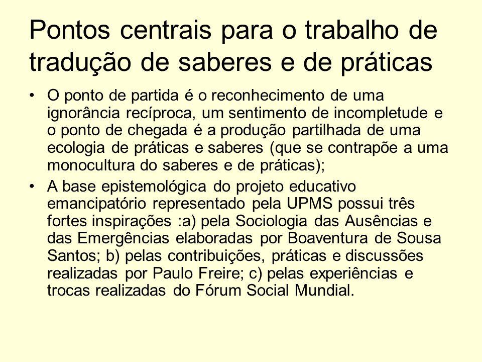 Pontos centrais para o trabalho de tradução de saberes e de práticas