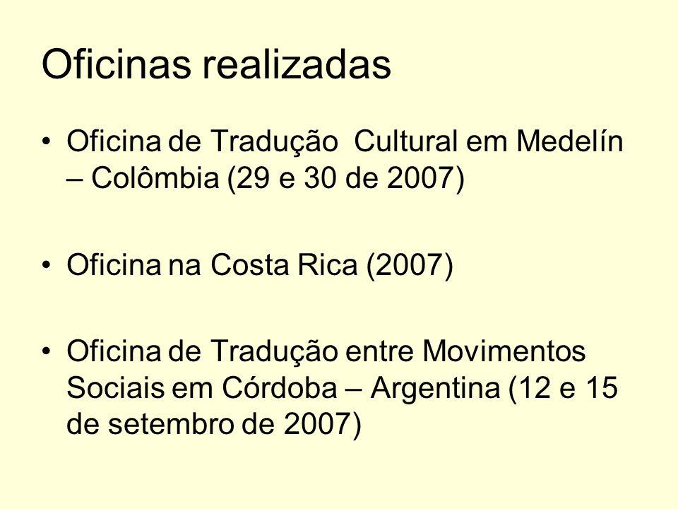 Oficinas realizadas Oficina de Tradução Cultural em Medelín – Colômbia (29 e 30 de 2007) Oficina na Costa Rica (2007)