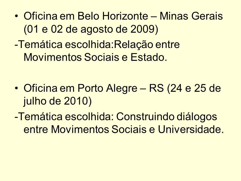 Oficina em Belo Horizonte – Minas Gerais (01 e 02 de agosto de 2009)