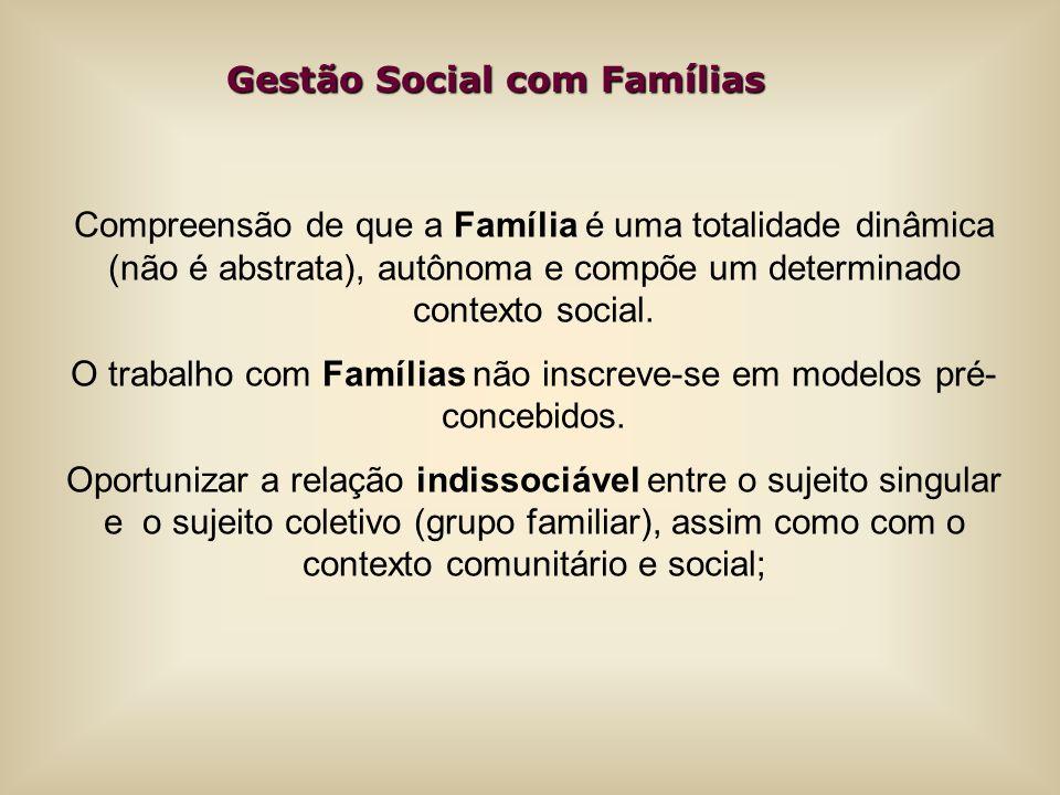 O trabalho com Famílias não inscreve-se em modelos pré-concebidos.