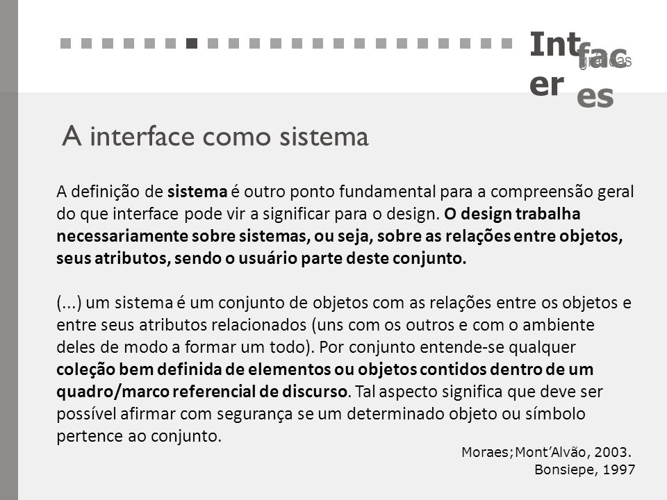 Inter A interface como sistema
