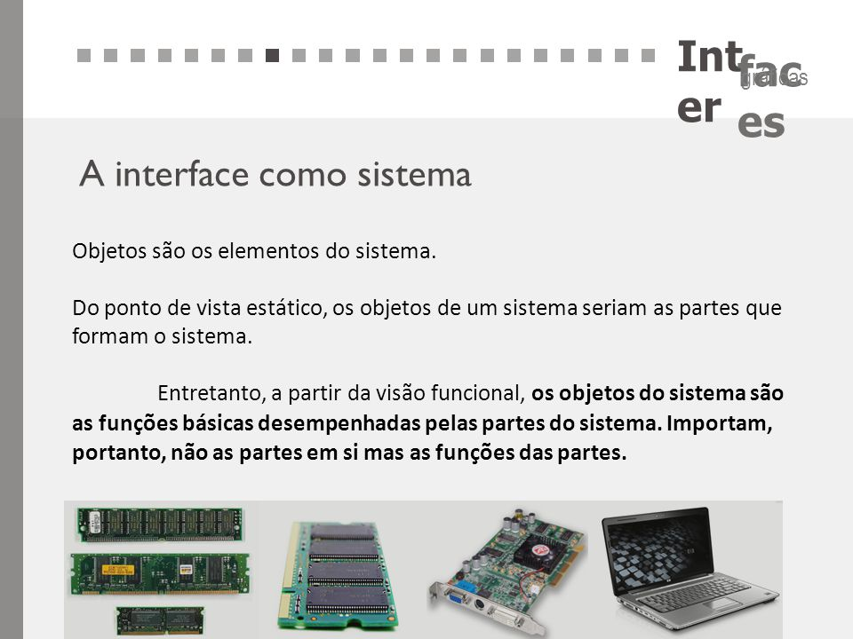 Inter A interface como sistema Objetos são os elementos do sistema.