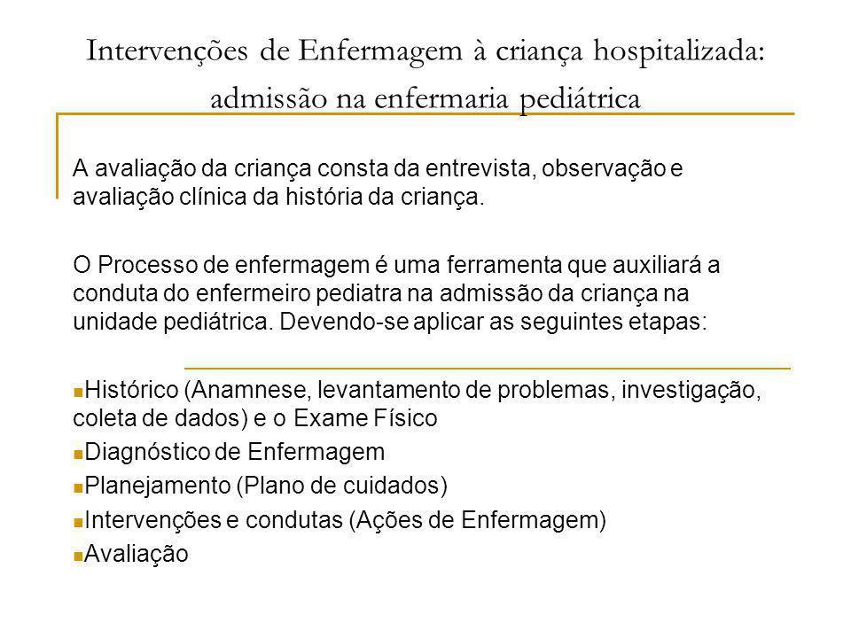 Intervenções de Enfermagem à criança hospitalizada: admissão na enfermaria pediátrica