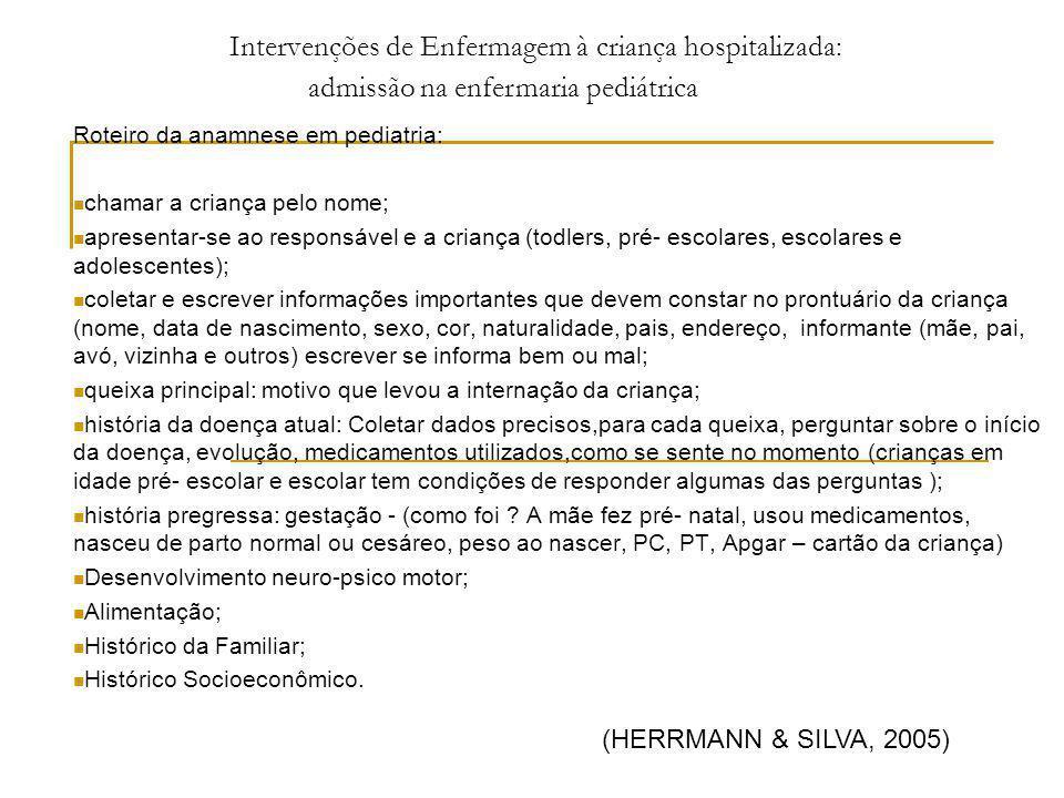 Intervenções de Enfermagem à criança hospitalizada: