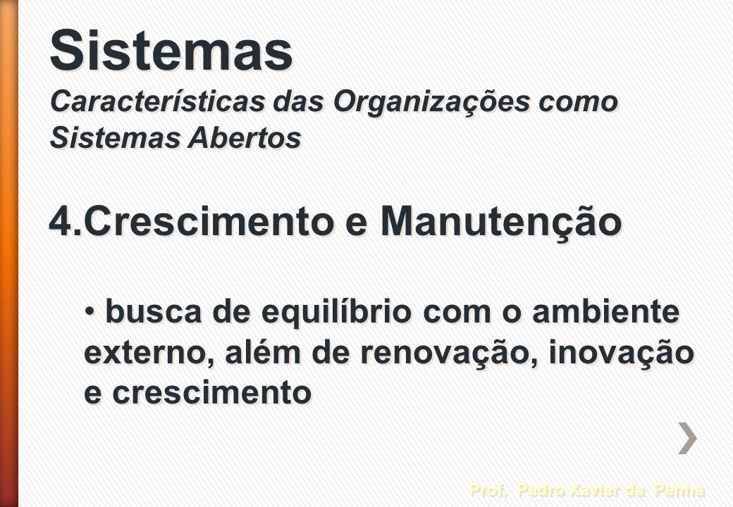 Sistemas 4.Crescimento e Manutenção Prof. Pedro Xavier da Penha