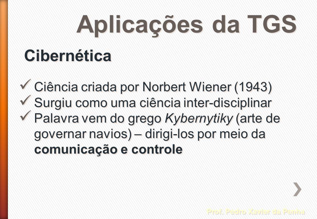 Aplicações da TGS Prof. Pedro Xavier da Penha Cibernética