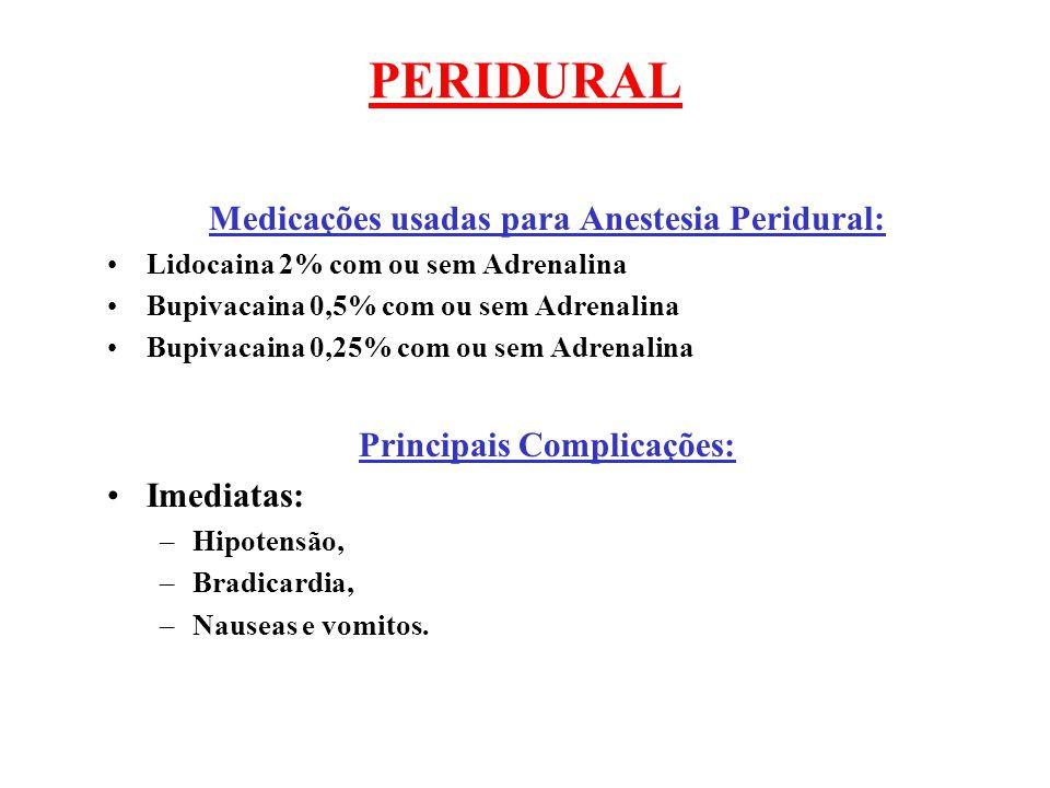 Medicações usadas para Anestesia Peridural: Principais Complicações: