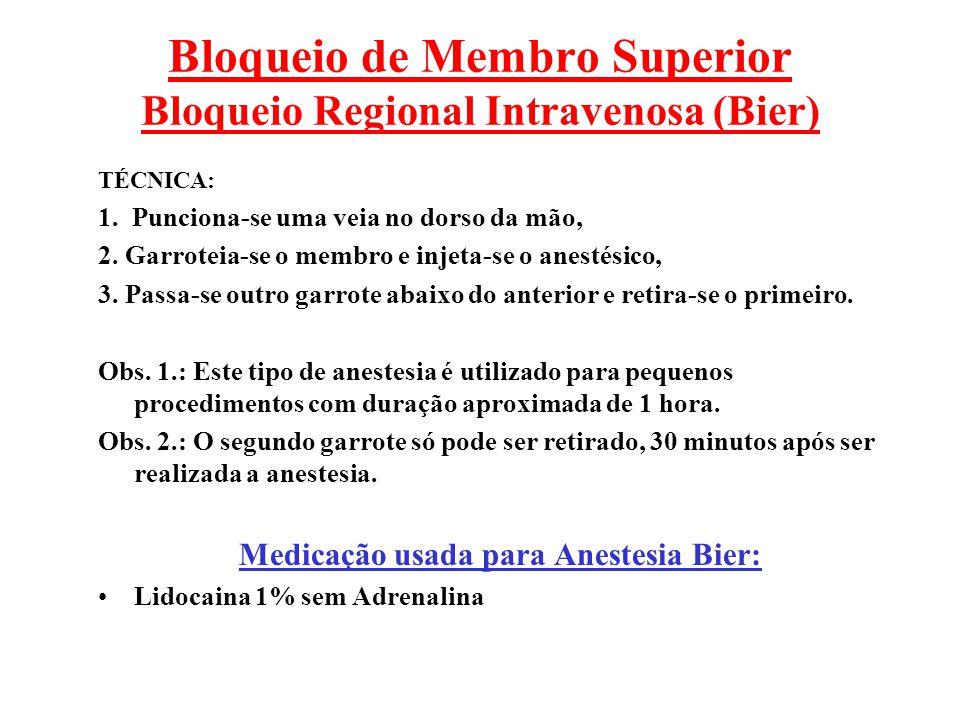 Bloqueio de Membro Superior Bloqueio Regional Intravenosa (Bier)