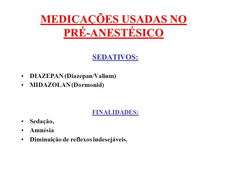 MEDICAÇÕES USADAS NO PRÉ-ANESTÉSICO