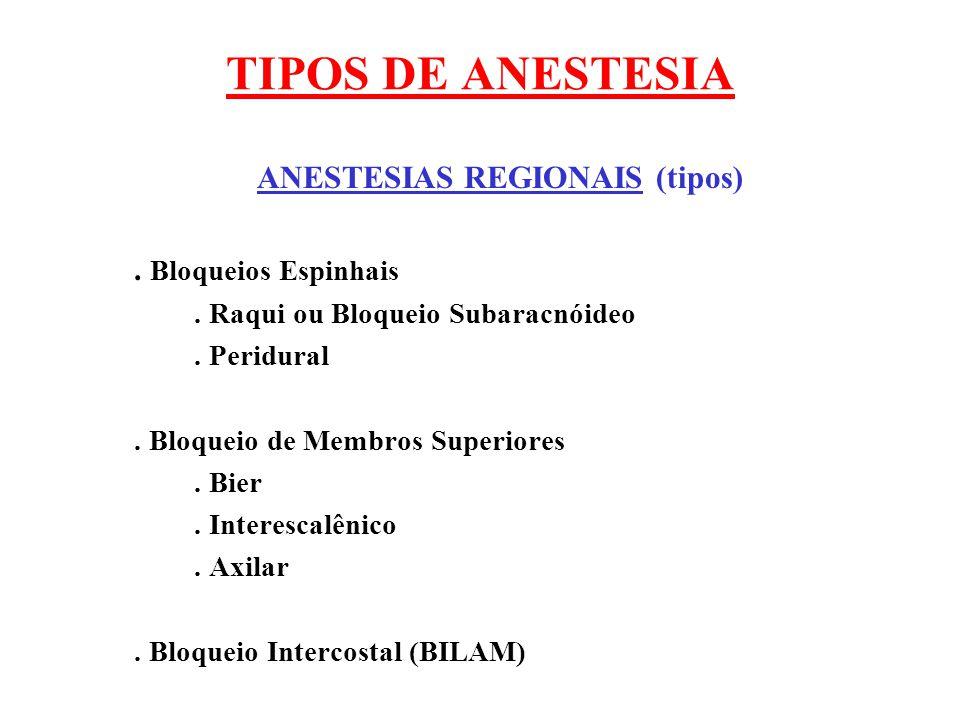 ANESTESIAS REGIONAIS (tipos)