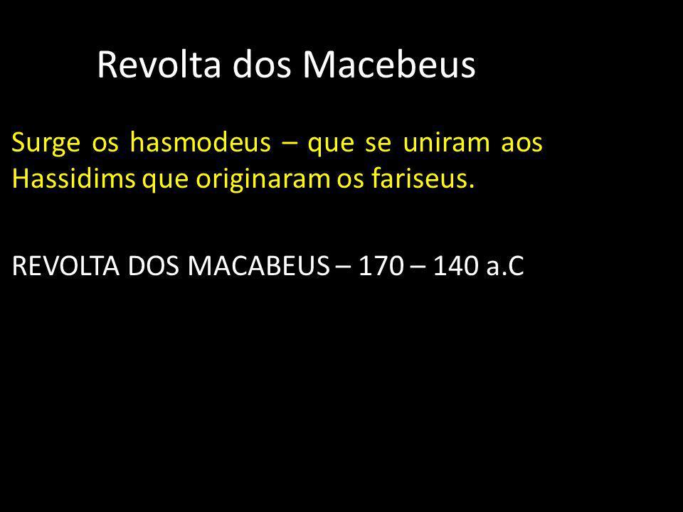 Revolta dos Macebeus Surge os hasmodeus – que se uniram aos Hassidims que originaram os fariseus.