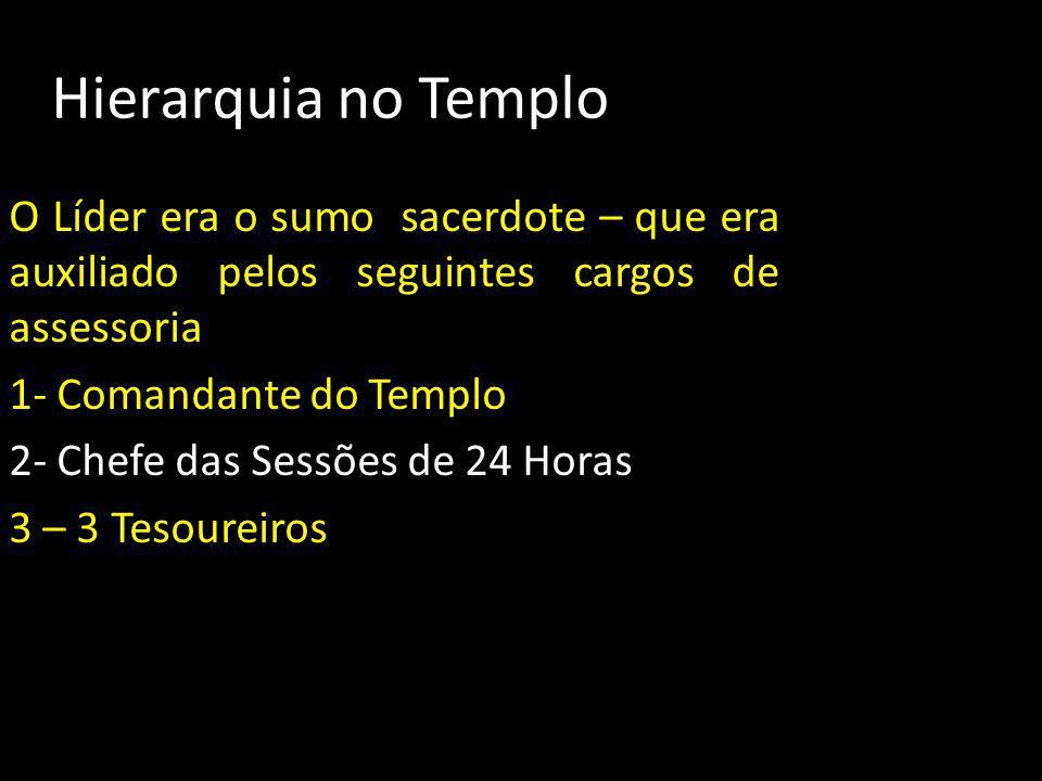 Hierarquia no Templo O Líder era o sumo sacerdote – que era auxiliado pelos seguintes cargos de assessoria.