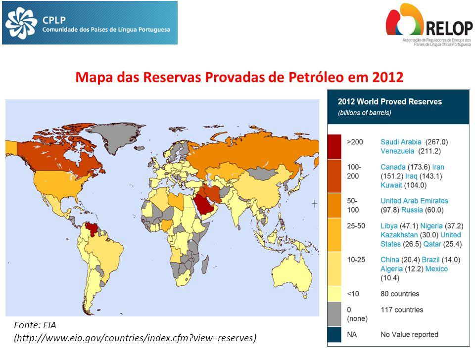 Mapa das Reservas Provadas de Petróleo em 2012