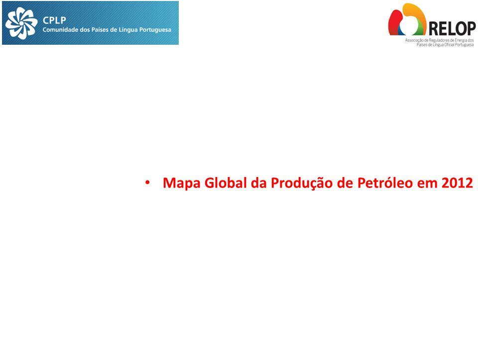 Mapa Global da Produção de Petróleo em 2012